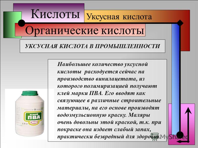 Кислоты Органические кислоты Уксусная кислота УКСУСНАЯ КИСЛОТА В ПРОМЫШЛЕННОСТИ Наибольшее количество уксусной кислоты расходуется сейчас на производство винилацетата, из которого полимиризацией получают клей марки ПВА. Его вводят как связующее в раз