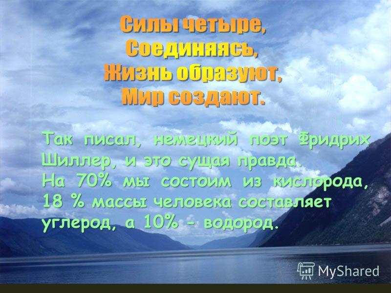 Так писал, немецкий поэт Фридрих Шиллер, и это сущая правда. На 70% мы состоим из кислорода, 18 % массы человека составляет углерод, а 10% - водород.