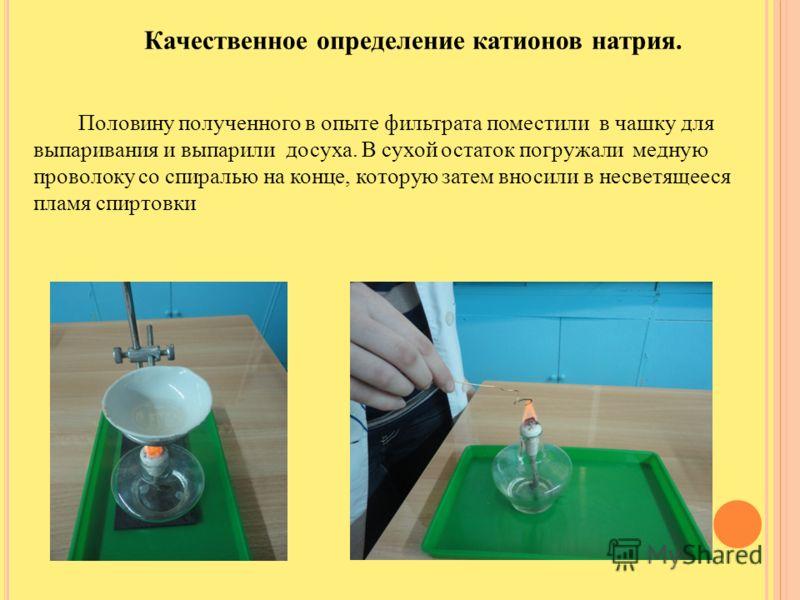 Качественное определение катионов натрия. Половину полученного в опыте фильтрата поместили в чашку для выпаривания и выпарили досуха. В сухой остаток погружали медную проволоку со спиралью на конце, которую затем вносили в несветящееся пламя спиртовк