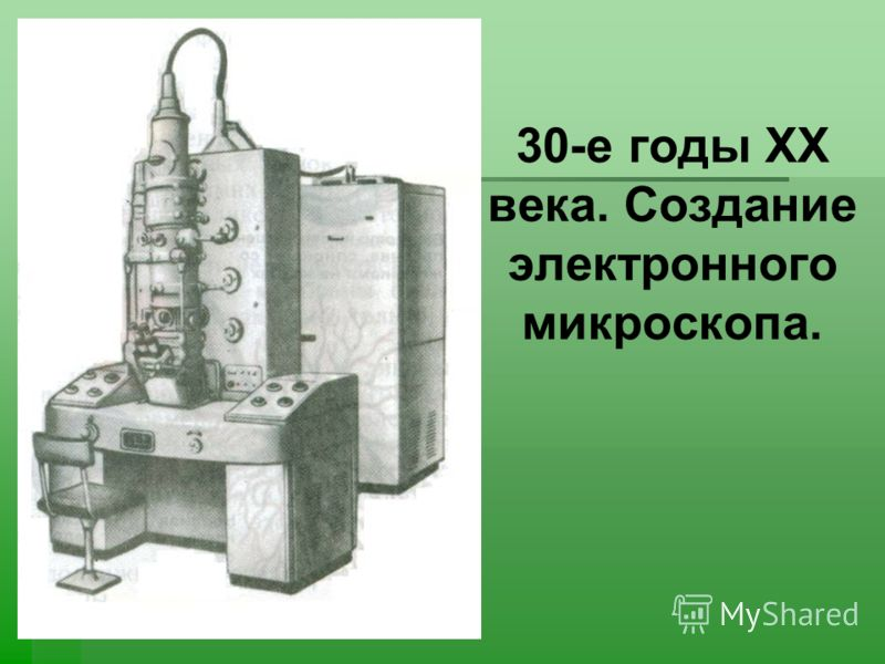 30-е годы ХХ века. Создание электронного микроскопа.