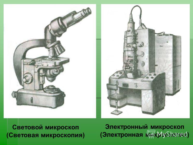 Световой микроскоп (Световая микроскопия) Электронный микроскоп (Электронная микроскопия)