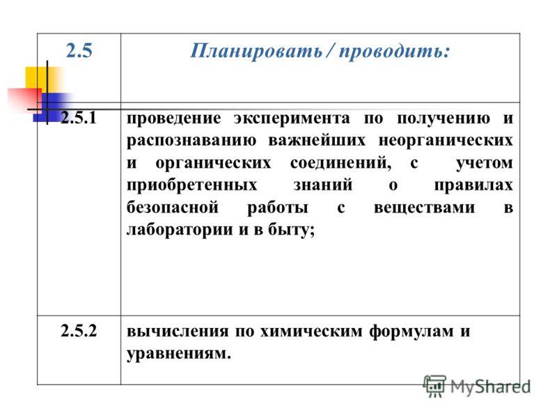 2.5Планировать / проводить: 2.5.1проведение эксперимента по получению и распознаванию важнейших неорганических и органических соединений, с учетом приобретенных знаний о правилах безопасной работы с веществами в лаборатории и в быту; 2.5.2вычисления