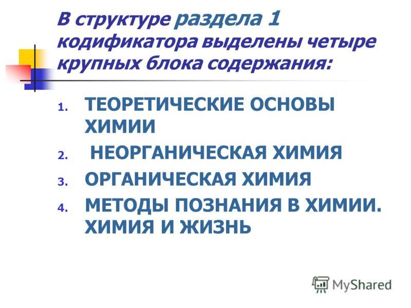 В структуре раздела 1 кодификатора выделены четыре крупных блока содержания: 1. ТЕОРЕТИЧЕСКИЕ ОСНОВЫ ХИМИИ 2. НЕОРГАНИЧЕСКАЯ ХИМИЯ 3. ОРГАНИЧЕСКАЯ ХИМИЯ 4. МЕТОДЫ ПОЗНАНИЯ В ХИМИИ. ХИМИЯ И ЖИЗНЬ