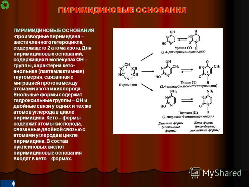 ПИРИМИДИНОВЫЕ ОСНОВАНИЯ ПИРИМИДИНОВЫЕ ОСНОВАНИЯ -производные пиримидина – шестичленного гетероцикла, содержащего 2 атома азота. Для пиримидиновых оснований, содержащих в молекулах ОН – группы, характерна кето- енольная (лактамлактимная) таутомерия, с