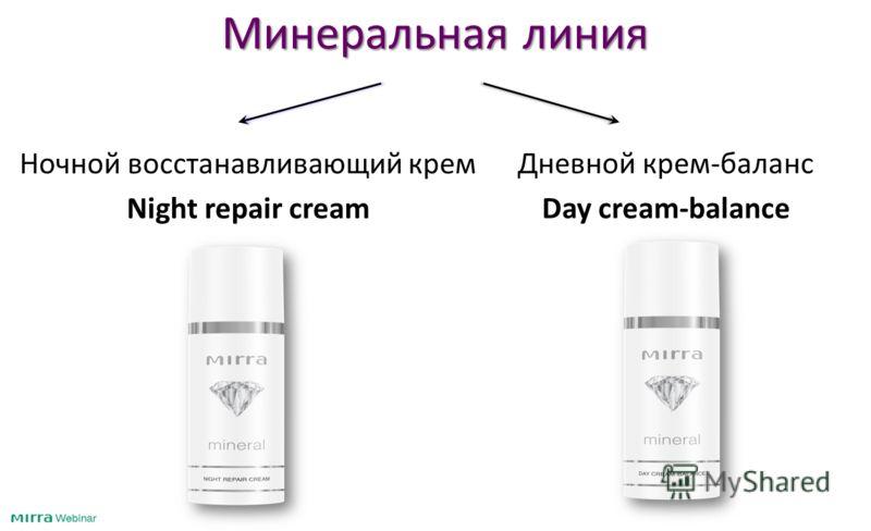 Минеральная линия Ночной восстанавливающий крем Night repair cream Дневной крем-баланс Day cream-balance