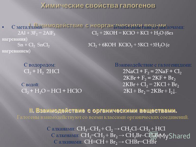 С металлами : Взаимодействие со щелочами: 2Al + 3F 2 = 2AlF 3 Cl 2 + 2 KOH = KClO + KCl + H 2 O (без нагревания) Sn + Cl 2 SnCl 2 3 Cl 2 + 6 KOH KClO 3 + 5 KCl +3 H 2 O (с нагреванием) С водородом: Взаимодействие с галогенидами : Cl 2 + H 2 2HCl 2NaC