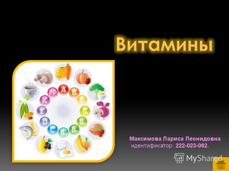 Максимова Лариса Леонидовна идентификатор: 222-023-062.
