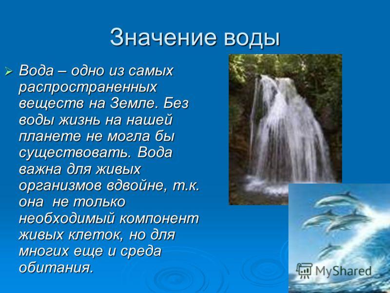 Значение воды Вода – одно из самых распространенных веществ на Земле. Без воды жизнь на нашей планете не могла бы существовать. Вода важна для живых организмов вдвойне, т.к. она не только необходимый компонент живых клеток, но для многих еще и среда