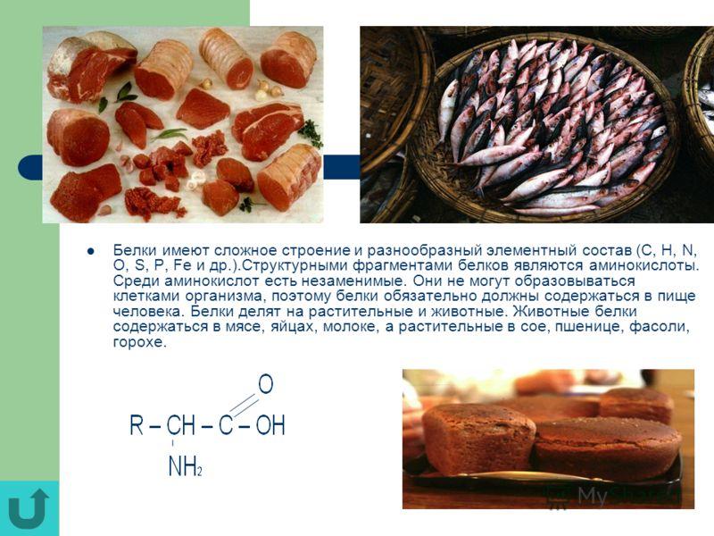 Белки имеют сложное строение и разнообразный элементный состав (C, H, N, O, S, P, Fe и др.).Структурными фрагментами белков являются аминокислоты. Среди аминокислот есть незаменимые. Они не могут образовываться клетками организма, поэтому белки обяза