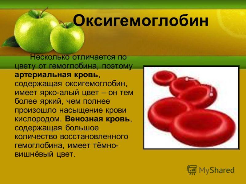 Оксигемоглобин Несколько отличается по цвету от гемоглобина, поэтому артериальная кровь, содержащая оксигемоглобин, имеет ярко-алый цвет – он тем более яркий, чем полнее произошло насыщение крови кислородом. Венозная кровь, содержащая большое количес