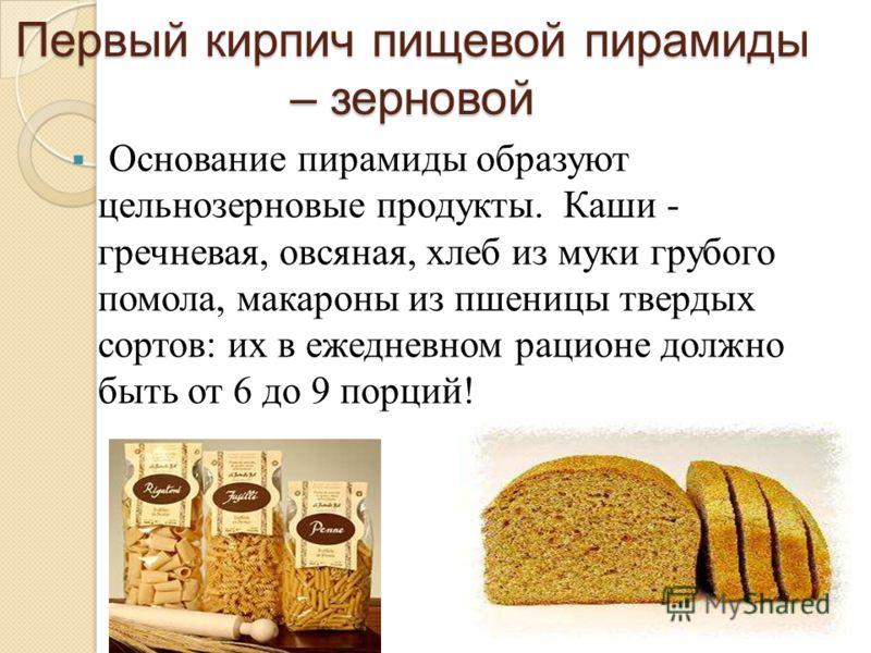 Первый кирпич пищевой пирамиды – зерновой Основание пирамиды образуют цельнозерновые продукты. Каши - гречневая, овсяная, хлеб из муки грубого помола, макароны из пшеницы твердых сортов: их в ежедневном рационе должно быть от 6 до 9 порций!