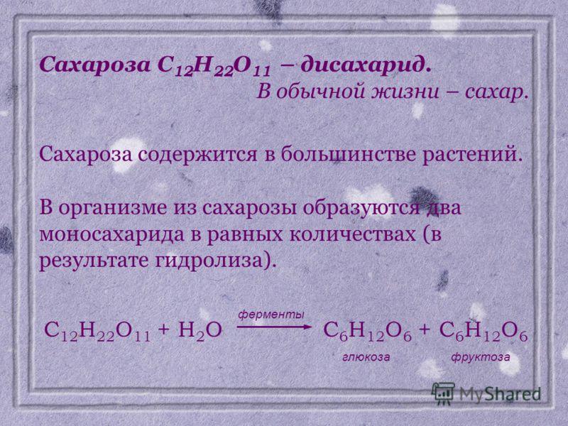Сахароза C 12 H 22 O 11 – дисахарид. В обычной жизни – сахар. Сахароза содержится в большинстве растений. В организме из сахарозы образуются два моносахарида в равных количествах (в результате гидролиза). C 12 H 22 O 11 + H 2 OC 6 H 12 O 6 + C 6 H 12