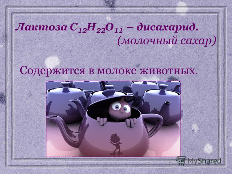Лактоза C 12 H 22 O 11 – дисахарид. (молочный сахар) Содержится в молоке животных.