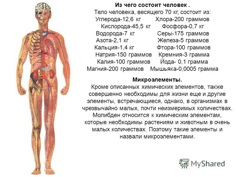 Из чего состоит человек. Тело человека, весящего 70 кг, состоит из: Углерода-12,6 кг Хлора-200 граммов Кислорода-45,5 кг Фосфора-0,7 кг Водорода-7 кг Серы-175 граммов Азота-2,1 кг Железа-5 граммов Кальция-1,4 кг Фтора-100 граммов Натрия-150 граммов К
