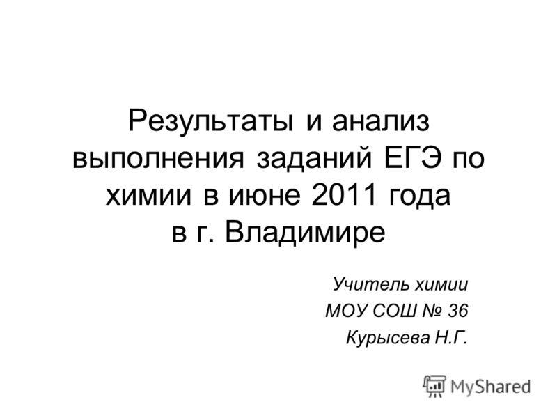 Результаты и анализ выполнения заданий ЕГЭ по химии в июне 2011 года в г. Владимире Учитель химии МОУ СОШ 36 Курысева Н.Г.