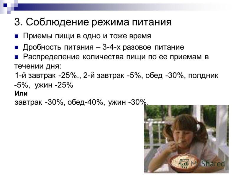 3. Соблюдение режима питания Приемы пищи в одно и тоже время Дробность питания – 3-4-х разовое питание Распределение количества пищи по ее приемам в течении дня: 1-й завтрак -25%., 2-й завтрак -5%, обед -30%, полдник -5%, ужин -25% Или завтрак -30%,