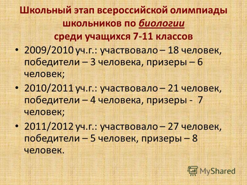 Школьный этап всероссийской олимпиады школьников по биологии среди учащихся 7-11 классов 2009/2010 уч.г.: участвовало – 18 человек, победители – 3 человека, призеры – 6 человек; 2010/2011 уч.г.: участвовало – 21 человек, победители – 4 человека, приз