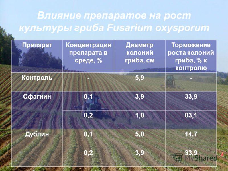 Влияние препаратов на рост культуры гриба Fusarium oxysporum ПрепаратКонцентрация препарата в среде, % Диаметр колоний гриба, см Торможение роста колоний гриба, % к контролю Контроль-5,9- Сфагнин0,13,933,9 0,21,083,1 Дублин0,15,014,7 0,23,933,9