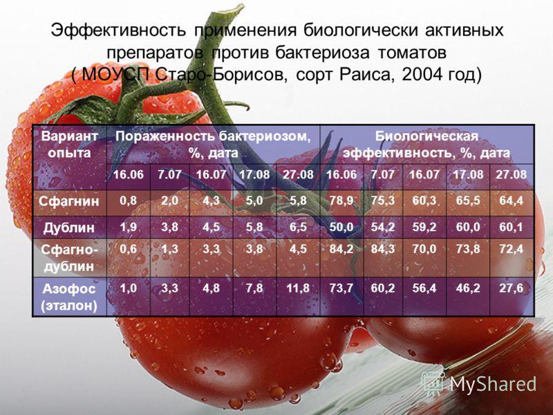 Эффективность применения биологически активных препаратов против бактериоза томатов ( МОУСП Старо-Борисов, сорт Раиса, 2004 год) Вариант опыта Пораженность бактериозом, %, дата Биологическая эффективность, %, дата 16.067.0716.0717.0827.0816.067.0716.
