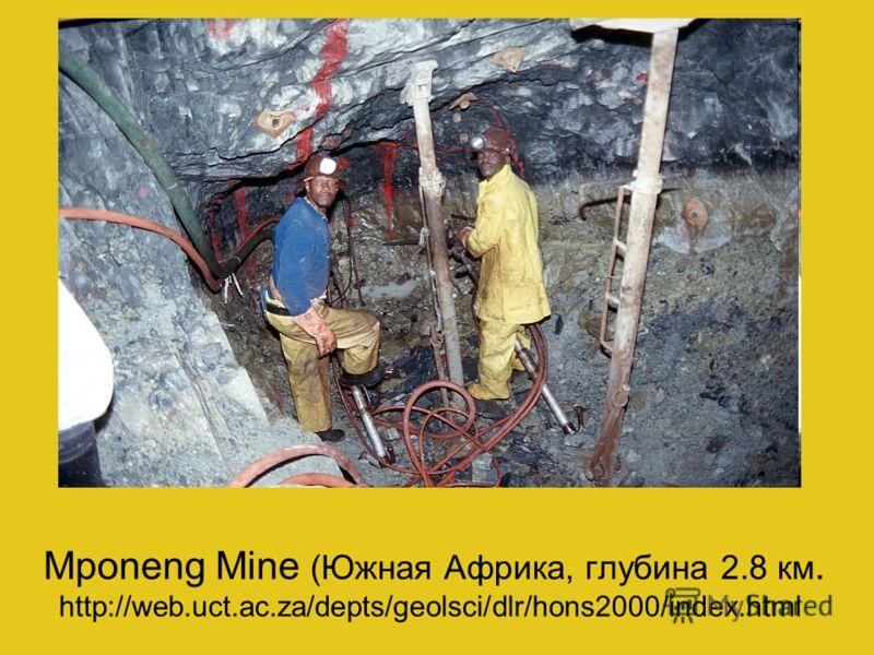 Mponeng Mine (Южная Африка, глубина 2.8 км. http://web.uct.ac.za/depts/geolsci/dlr/hons2000/index.html