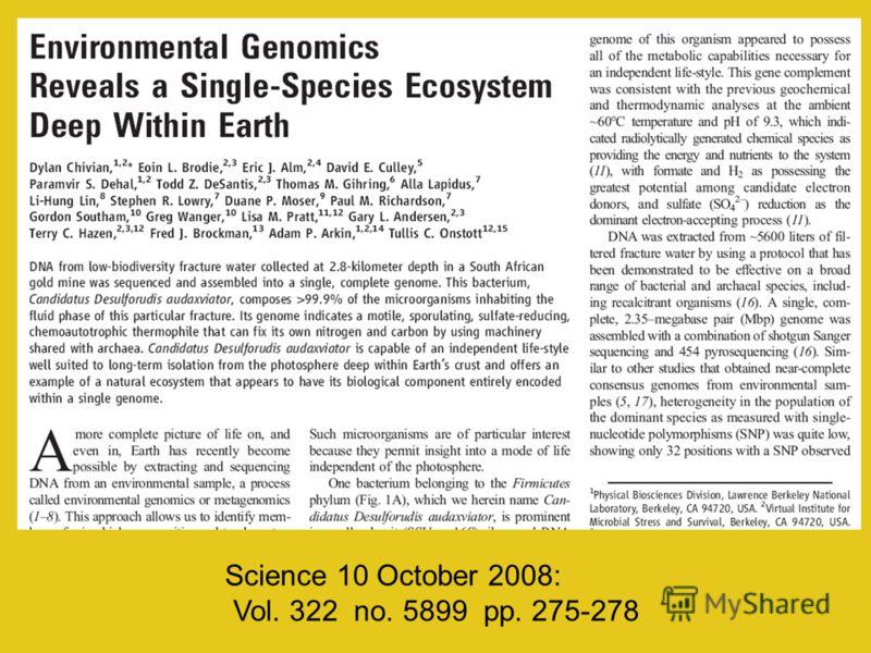 Science 10 October 2008: Vol. 322 no. 5899 pp. 275-278
