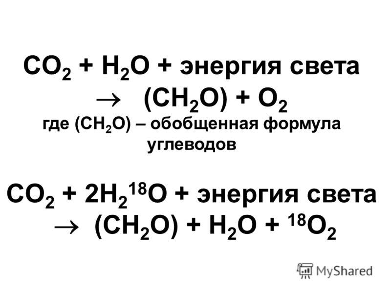 CO 2 + H 2 O + энергия света (CH 2 O) + O 2 где (CH 2 O) – обобщенная формула углеводов CO 2 + 2H 2 18 O + энергия света (CH 2 O) + H 2 O + 18 O 2