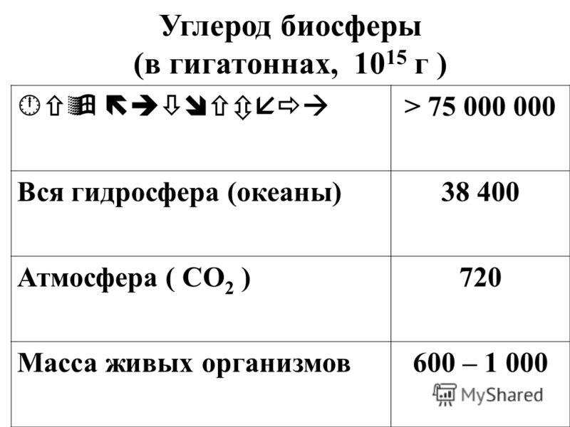 Углерод биосферы (в гигатоннах, 10 15 г ) В > 75 000 000 Вся гидросфера (океаны)38 400 Атмосфера ( СО 2 )720 Масса живых организмов600 – 1 000