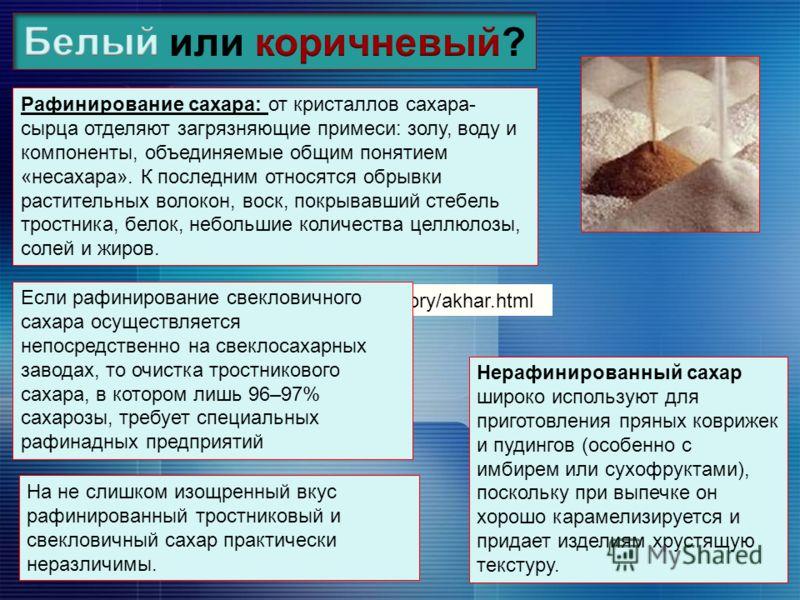 http://slogos.ru/story/akhar.html Рафинирование сахара: от кристаллов сахара- сырца отделяют загрязняющие примеси: золу, воду и компоненты, объединяемые общим понятием «несахара». К последним относятся обрывки растительных волокон, воск, покрывавший