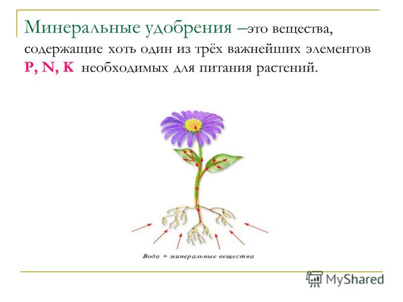 Минеральные удобрения – это вещества, содержащие хоть один из трёх важнейших элементов P, N, K необходимых для питания растений.