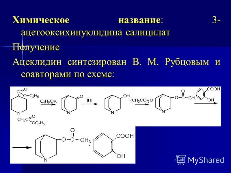 Химическое название: 3- ацетооксихинуклидина салицилат Получение Ацеклидин синтезирован В. М. Рубцовым и соавторами по схеме: