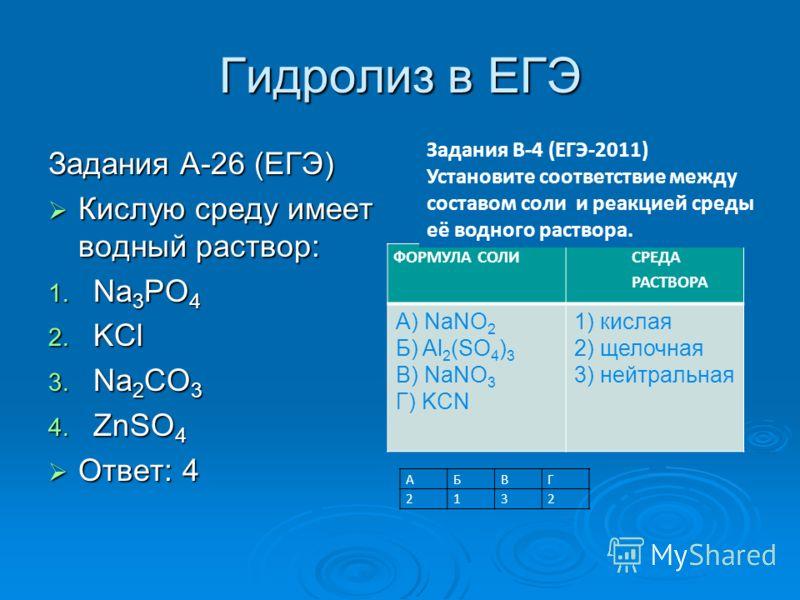 Гидролиз в ЕГЭ Задания А-26 (ЕГЭ) Кислую среду имеет водный раствор: Кислую среду имеет водный раствор: 1. Na 3 PO 4 2. KCl 3. Na 2 CO 3 4. ZnSO 4 Ответ: 4 Ответ: 4 ФОРМУЛА СОЛИ СРЕДА РАСТВОРА А) NaNO 2 Б) Al 2 (SO 4 ) 3 В) NaNO 3 Г) KCN 1) кислая 2)