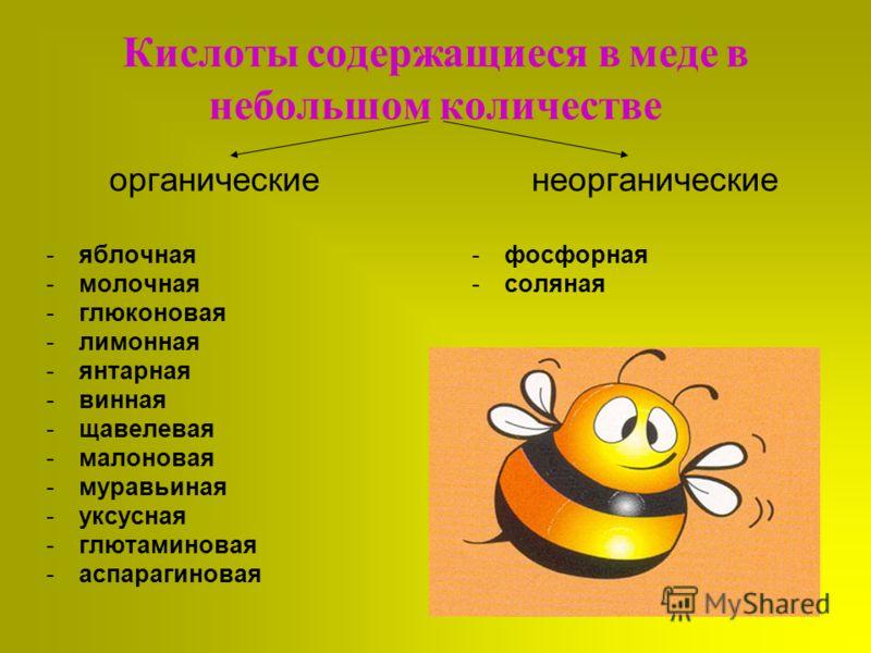 Кислоты содержащиеся в меде в небольшом количестве органические -яблочная -молочная -глюконовая -лимонная -янтарная -винная -щавелевая -малоновая -муравьиная -уксусная -глютаминовая -аспарагиновая неорганические -фосфорная -соляная