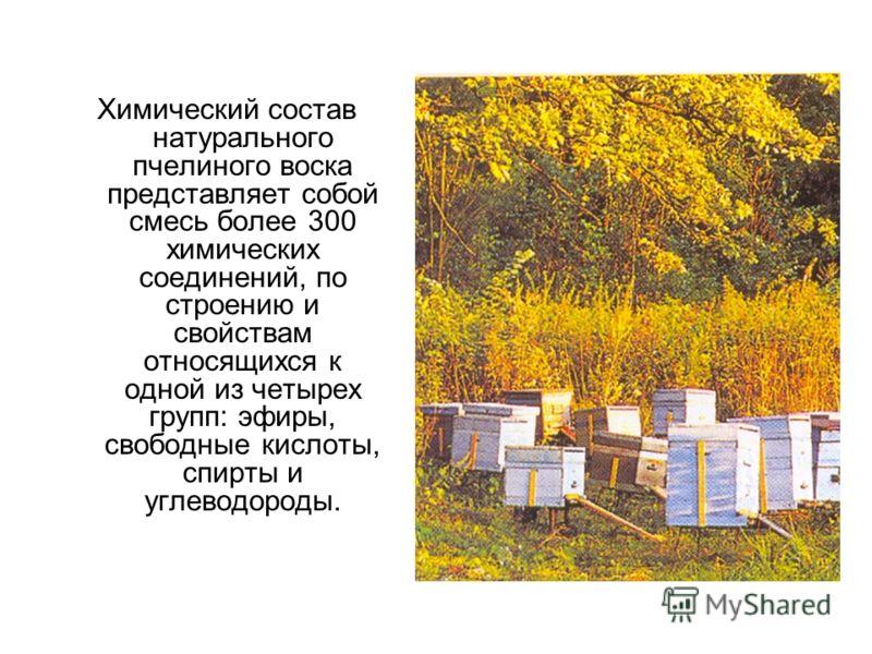 Химический состав натурального пчелиного воска представляет собой смесь более 300 химических соединений, по строению и свойствам относящихся к одной из четырех групп: эфиры, свободные кислоты, спирты и углеводороды.