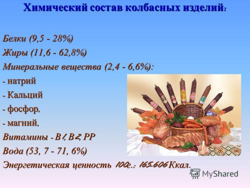 Химический состав колбасных изделий : Белки (9,5 - 28%) Жиры (11,6 - 62,8%) Минеральные вещества (2,4 - 6,6%): - натрий - Кальций - фосфор, - магний, Витамины - В 1, В 2, РР Вода (53, 7 - 71, 6%) Энергетическая ценность 100 г.: 165-606 Ккал.