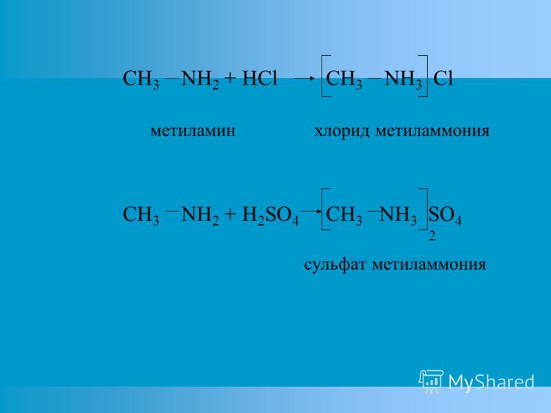 CH 3 NH 2 + HCl CH 3 NH 3 Cl метиламин хлорид метиламмония CH 3 NH 2 + H 2 SO 4 CH 3 NH 3 SO 4 2 сульфат метиламмония