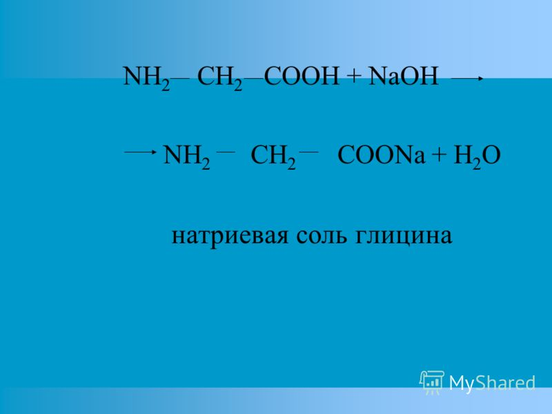 NH 2 CH 2 COOH + NaOH NH 2 CH 2 COONa + H 2 O натриевая соль глицина