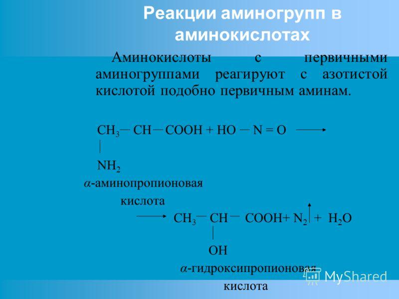 Реакции аминогрупп в аминокислотах Аминокислоты с первичными аминогруппами реагируют с азотистой кислотой подобно первичным аминам. СH 3 CH COOH + HO N = O NH 2 α-аминопропионовая кислота CH 3 CH COOH+ N 2 + H 2 O OH α-гидроксипропионовая кислота