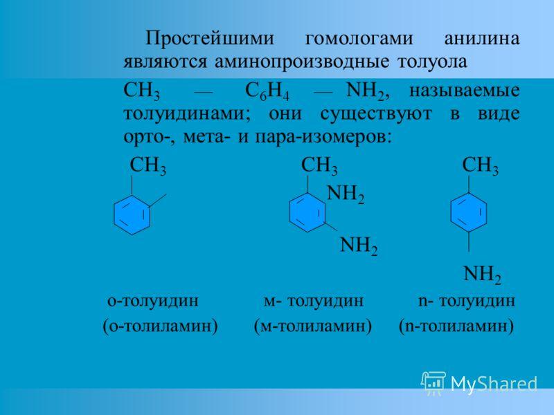 Простейшими гомологами анилина являются аминопроизводные толуола CH 3 C 6 H 4 NH 2, называемые толуидинами; они существуют в виде орто-, мета- и пара-изомеров: CH 3 CH 3 CH 3 NH 2 о-толуидин м- толуидин n- толуидин (о-толиламин) (м-толиламин) (n-толи