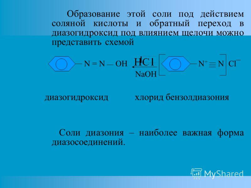 Образование этой соли под действием соляной кислоты и обратный переход в диазогидроксид под влиянием щелочи можно представить схемой N = N OH N + N Cl¯ NaOH диазогидроксид хлорид бензолдиазония Соли диазония – наиболее важная форма диазосоединений.