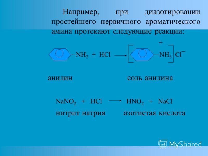Например, при диазотировании простейшего первичного ароматического амина протекают следующие реакции: + NH 2 + HCl NH 3 Cl¯ анилин соль анилина NaNO 2 + HCl HNO 2 + NaCl нитрит натрия азотистая кислота