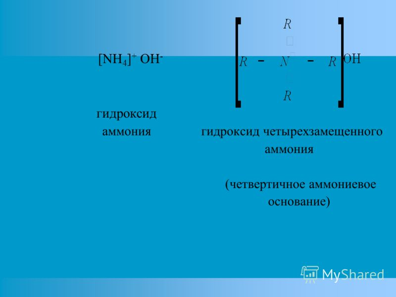 [NH 4 ] + OH - гидроксид аммония гидроксид четырехзамещенного аммония (четвертичное аммониевое основание)