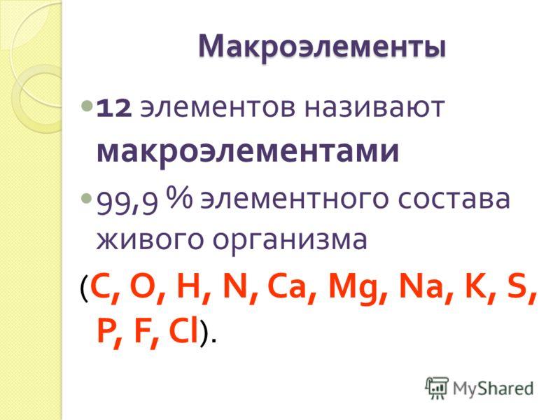 Макроэлементы 12 элементов називают макроэлементами 99,9 % элементного состава живого организма ( С, О, Н, N, Ca, Mg, Na, K, S, P, F, Cl ).