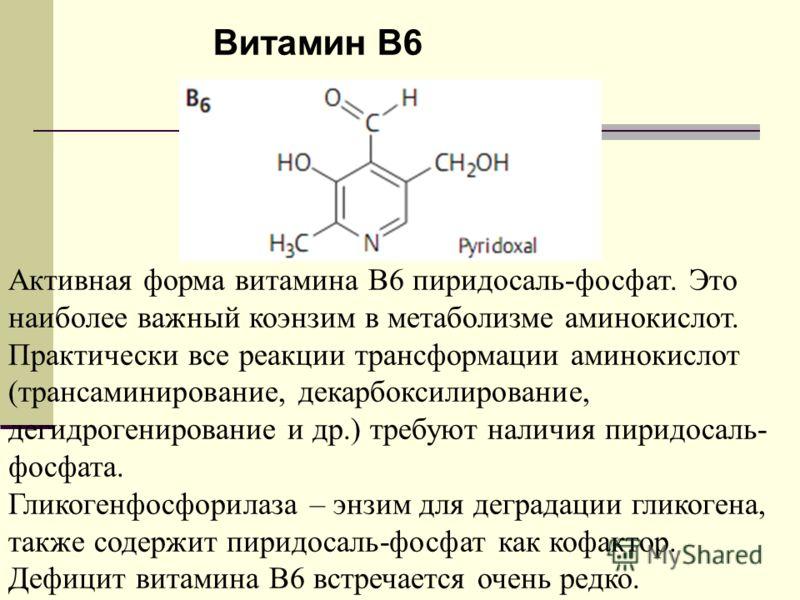 Витамин B6 Активная форма витамина B6 пиридосаль-фосфат. Это наиболее важный коэнзим в метаболизме аминокислот. Практически все реакции трансформации аминокислот (трансаминирование, декарбоксилирование, дегидрогенирование и др.) требуют наличия пирид