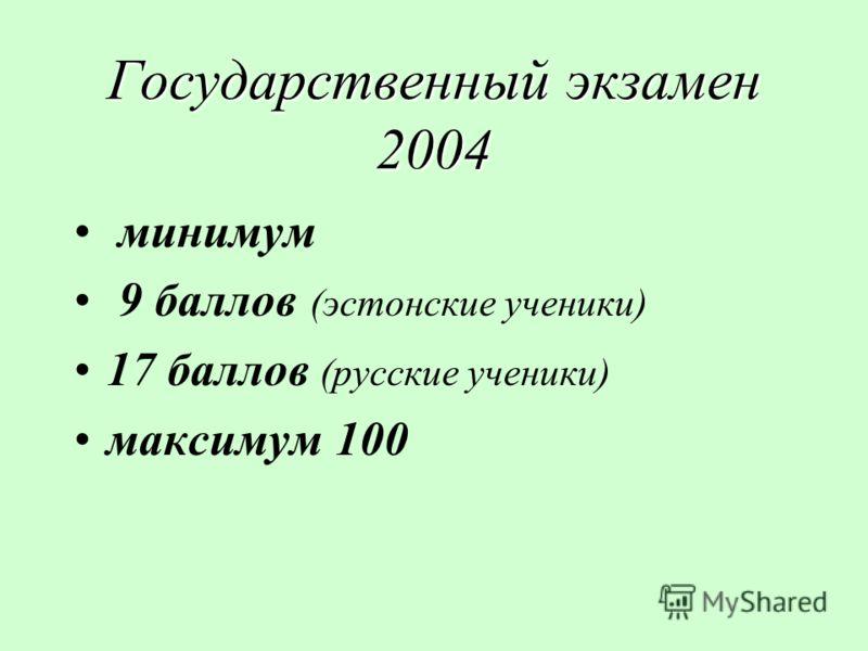 Государственный экзамен 2004 минимум 9 баллов (эстонские ученики) 17 баллов (русские ученики) максимум 100
