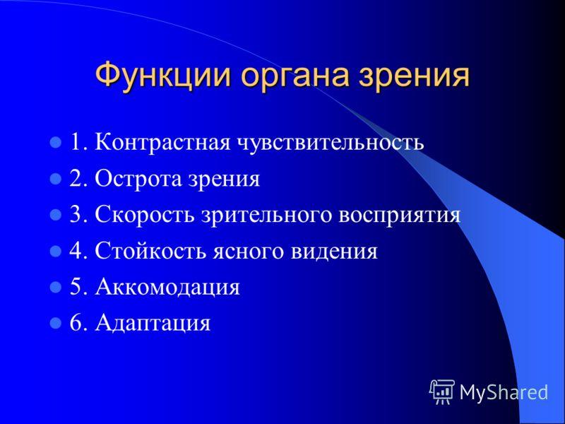 Функции органа зрения 1. Контрастная чувствительность 2. Острота зрения 3. Скорость зрительного восприятия 4. Стойкость ясного видения 5. Аккомодация 6. Адаптация