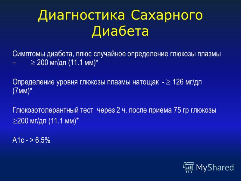 Диагностика Сахарного Диабета Симптомы диабета, плюс случайное определение глюкозы плазмы – 200 мг/дл (11.1 мм)* Определение уровня глюкозы плазмы натощак - 126 мг/дл (7мм)* Глюкозотолерантный тест через 2 ч. после приема 75 гр глюкозы 200 мг/дл (11.