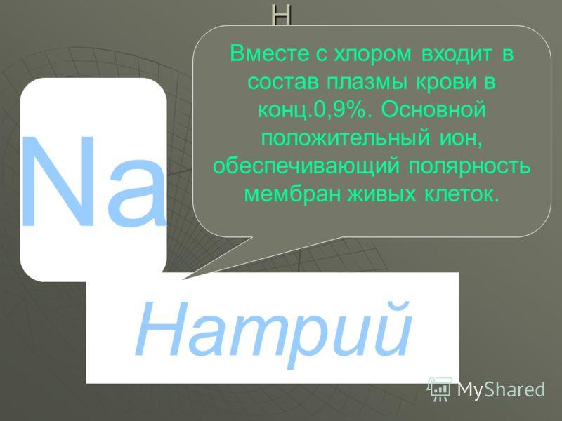 HPHPHPHP Na Натрий Вместе с хлором входит в состав плазмы крови в конц.0,9%. Основной положительный ион, обеспечивающий полярность мембран живых клеток.