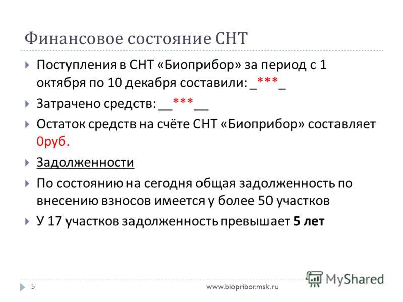 Финансовое состояние СНТ www.biopribor.msk.ru5 Поступления в СНТ « Биоприбор » за период с 1 октября по 10 декабря составили : _***_ Затрачено средств : __***__ Остаток средств на счёте СНТ « Биоприбор » составляет 0 руб. Задолженности По состоянию н