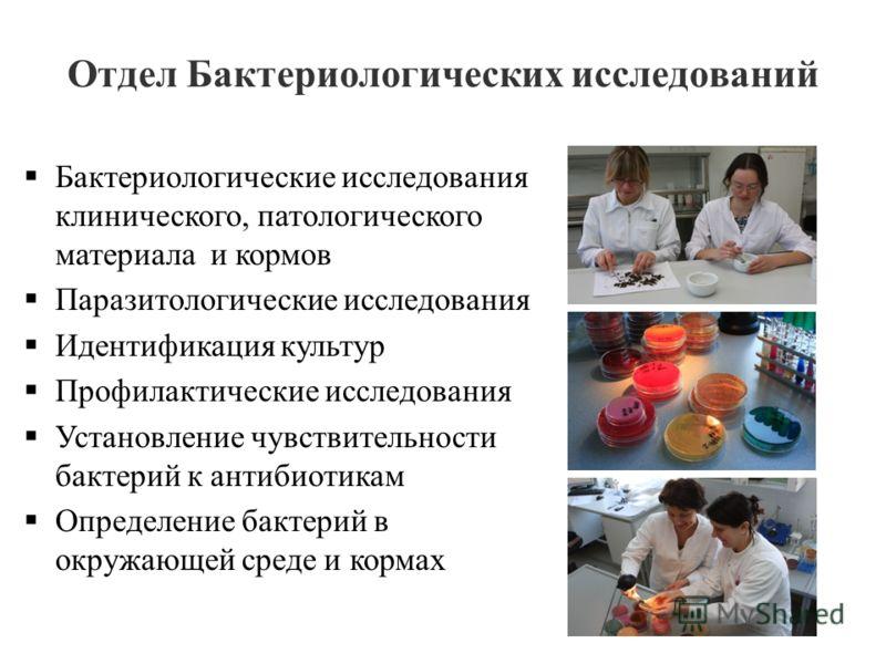 Отдел Бактериологических исследований Бактериологические исследования клинического, патологического материала и кормов Паразитологические исследования Идентификация культур Профилактические исследования Установление чувствительности бактерий к антиби