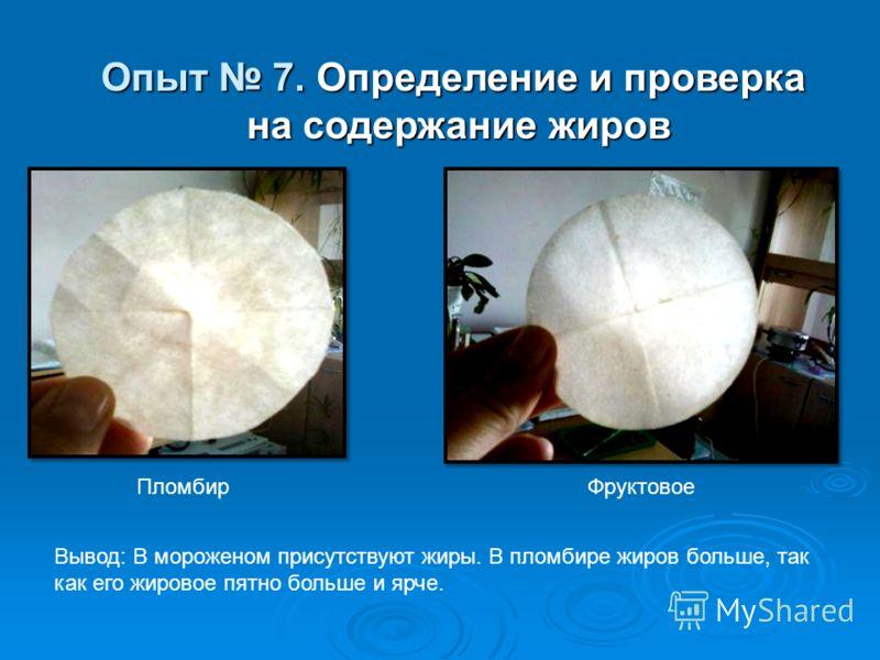 Опыт 7. Определение и проверка на содержание жиров на содержание жиров Вывод: В мороженом присутствуют жиры. В пломбире жиров больше, так как его жировое пятно больше и ярче. ПломбирФруктовое